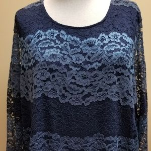 3x Project Blue Long Sleeve Lace Tunic